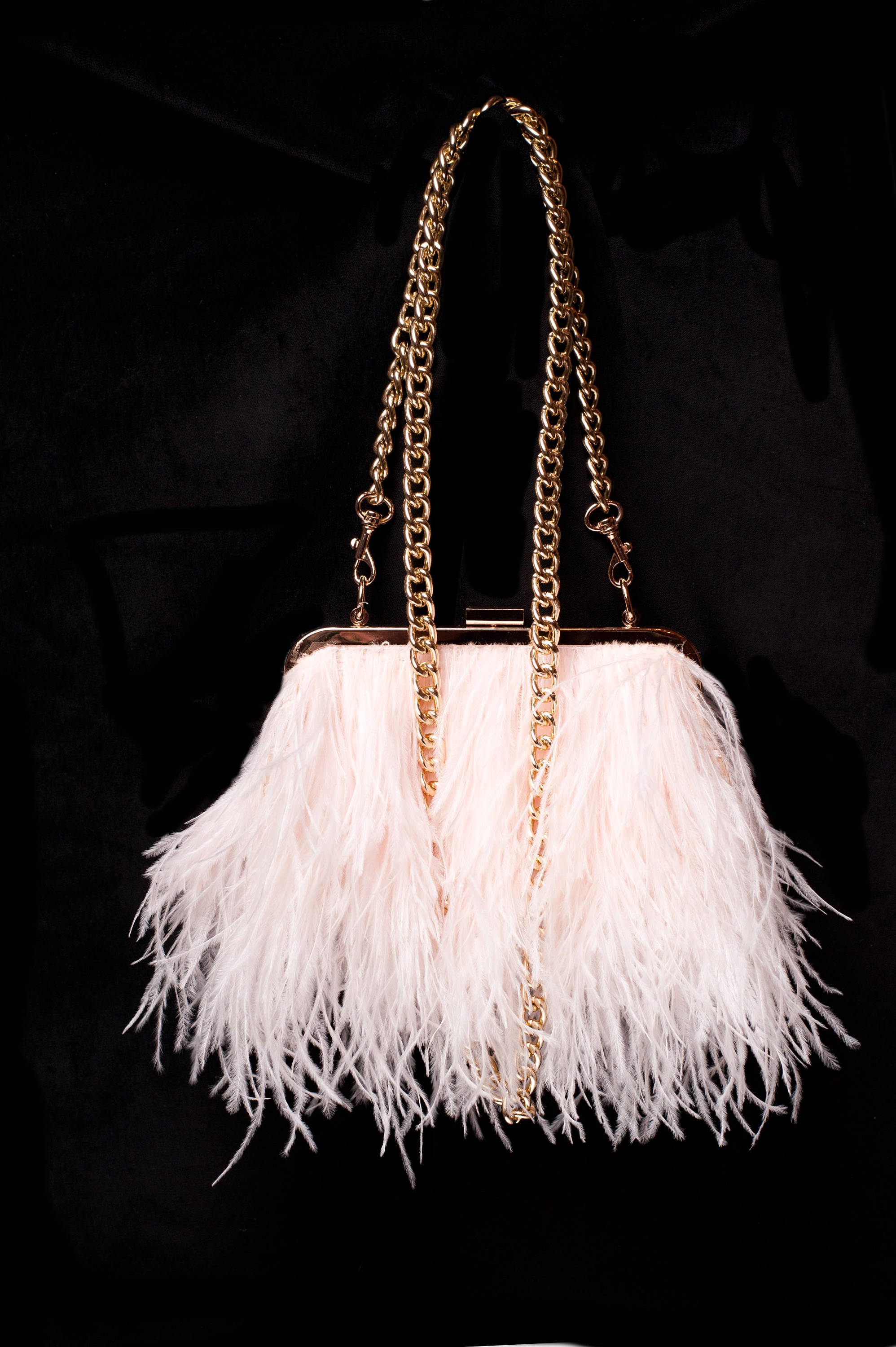 embellished with exotic ostrich feathers Evening shoulder bag
